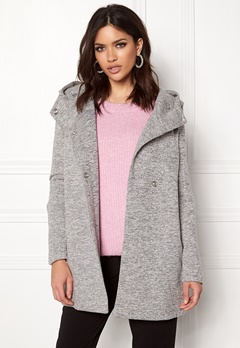 ONLY Fairy Mel Hooded Long Coat Light Grey Melange Bubbleroom.se