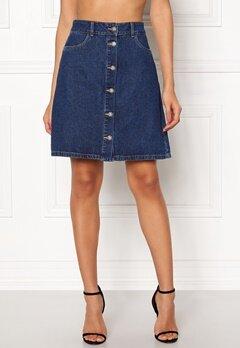ONLY Farrah Reg Denim Skirt Dark Blue Denim Bubbleroom.se