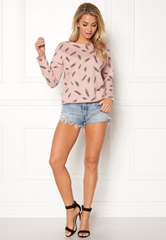 ONLY feather l/s aop o-neck Rose Smoke Bubbleroom.eu
