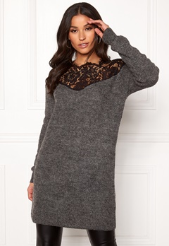 ONLY Hanna Ally L/S Lace Dress Dark Grey Melange Bubbleroom.se