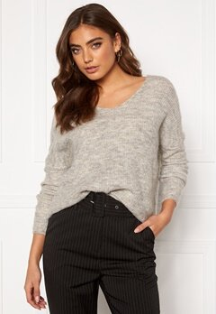 ONLY Hanna Maye L/S V-Neck Light Grey Melange Bubbleroom.se