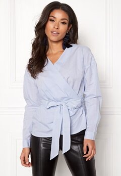 ONLY Helen Wrap Shirt Bright White Bubbleroom.fi
