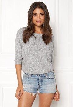 ONLY Ida Rib 3/4 Pullover. Light Grey Melange Bubbleroom.no