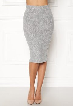 ONLY Ida Rib Skirt Light Grey Melange Bubbleroom.dk