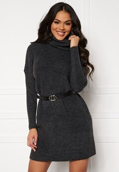 ONLY Jana L/S Cowlnck Dress Dark Grey Melange Bubbleroom.se