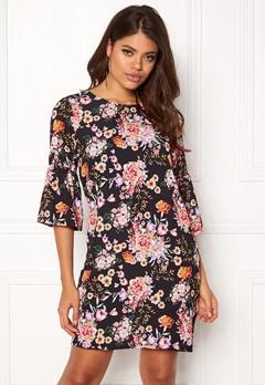 ONLY Kany Bell Dress LS Black/Floral Print Bubbleroom.fi
