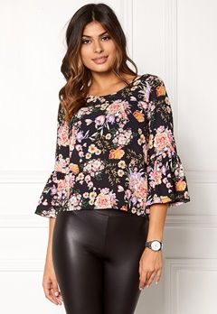 ONLY Kany Bell Top L/S Black Floral Print Bubbleroom.fi