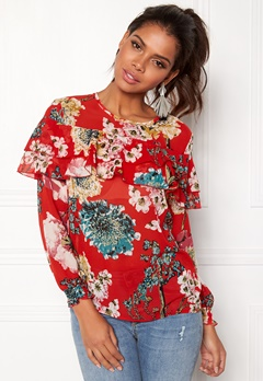 ONLY Katherine Frill Blouse Flame Scarlet Bubbleroom.eu