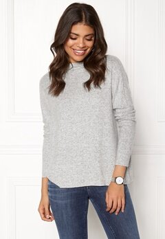 ONLY Kleo L/S Plain Pullover Light Grey Melange Bubbleroom.fi
