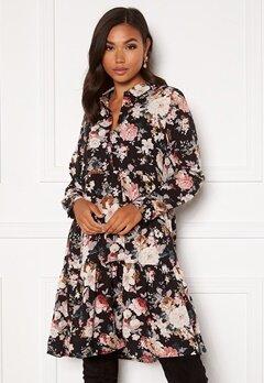 ONLY Larry LS Short Shirt Dress Black/Big Flower Bubbleroom.se
