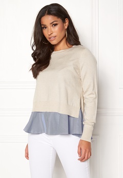 ONLY Latisha L/S Mix Pullover Pumice Stone Bubbleroom.se