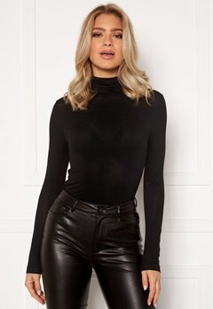 ONLY Lela Life L/S Rollerneck Top Black Bubbleroom.se