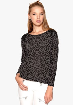 ONLY Leopard L/S Pullover Dark Grey Melange Bubbleroom.se