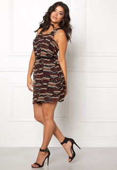 ONLY Lia Lace S/L Navajo Dress Brandy Brown Bubbleroom.fi