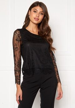 ONLY Lillie Lace Top Black Bubbleroom.se