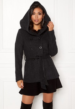 ONLY Lisa Hooded Wool Coat Black Bubbleroom.se