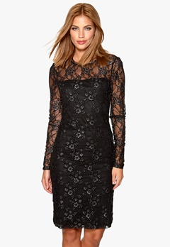 ONLY Lise Lace L/S Dress Black/Dark Silver Bubbleroom.no