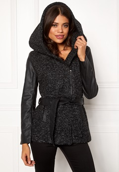 ONLY Lisford Boucle Wool Coat Black Bubbleroom.se