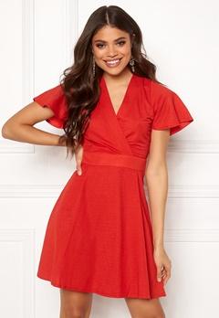 ONLY Liva S/S Dress High Risk Red Bubbleroom.se