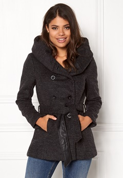 ONLY mary lisa short wool coat Dark grey melange Bubbleroom.se