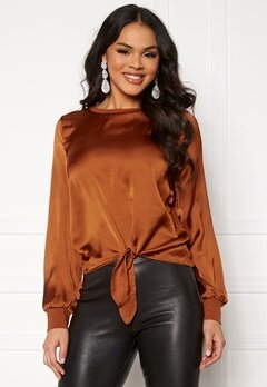 ONLY Mia L/S Knot Top Ginger Bread Bubbleroom.se