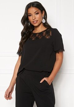 ONLY Mila Lux S/S Lace Top Black Bubbleroom.se
