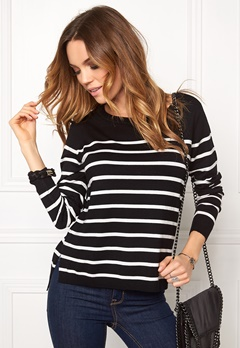 ONLY Mila Stripe Pullover Noos Black/Cloud Bubbleroom.se