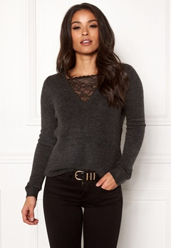ONLY Miramar L/S Lace Pullover Dark Grey Melange Bubbleroom.se