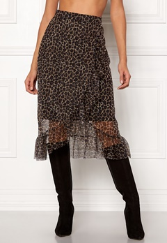 ONLY Moni Leo Mesh Skirt Black/Leo Bubbleroom.se
