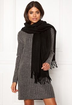 ONLY Nala Weaved Wool Scarf Black Bubbleroom.se