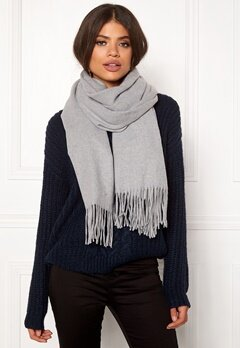 ONLY Nala Weaved Wool Scarf Light Grey Melange Bubbleroom.se