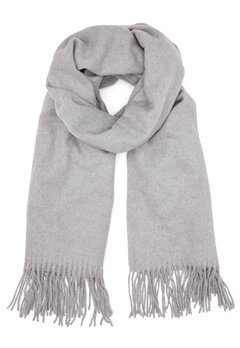 ONLY Nala Weaved Wool Scarf Light Grey Melange Bubbleroom.se