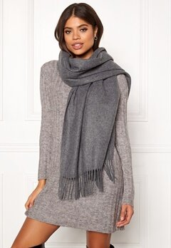 ONLY Nala Weaved Wool Scarf Medium Grey Melange Bubbleroom.se