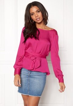 ONLY Natalia L/S Wrap Top Pink Peacock Bubbleroom.se