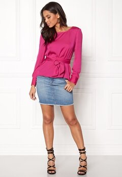 ONLY Natalia L/S Wrap Top Pink Peacock Bubbleroom.fi