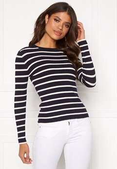 ONLY Natalia Stripe L/S Rib Pullover Night Sky Bubbleroom.se