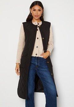 ONLY Nayra S/L Long Quilt Vest Black Bubbleroom.se