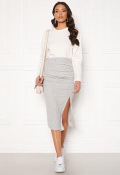 ONLY Nella Slit Skirt Light Grey Melange Bubbleroom.se