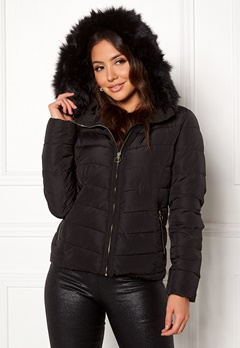ONLY New Ellan Quilted Jacket Black/Black Fur Bubbleroom.se