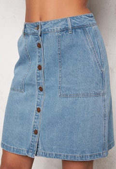 ONLY New Farrah A-Line Skirt Light Blue Denim Bubbleroom.se