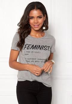 VERO MODA New Femme S/S T-shirt Light Grey Melange Bubbleroom.se