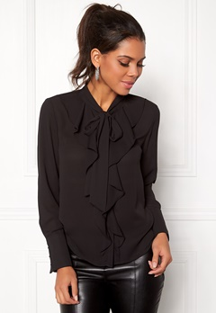ONLY New Intu LS Frill Shirt Black Bubbleroom.se