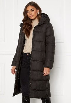 ONLY Newcammie Long Quilted Coat OTW Black Bubbleroom.se