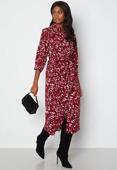 ONLY Nova Lux 3/4 Long Shirt Dress Red Dahilia bubbleroom.se