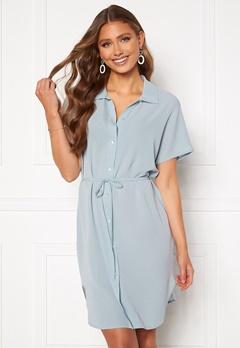 ONLY Nova Lux S/S Shirt Dress Solid Blue Fog Bubbleroom.se