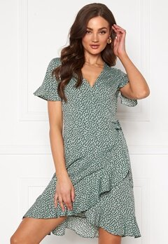 ONLY Olivia S/S Wrap Dress Chinois Green Bubbleroom.se