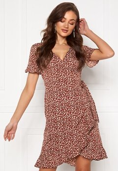 ONLY Olivia S/S Wrap Dress Henna Bubbleroom.se