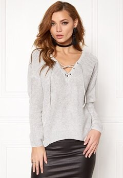 ONLY Peyton L/S Lace Up White Bubbleroom.fi