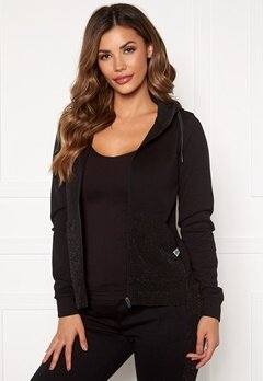 ONLY PLAY Bellatrix Glitter Zip Hood Sweat Black Bubbleroom.se