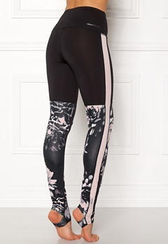 ONLY PLAY Flower Yoga Tights Black Pink Dogwood Bubbleroom.fi